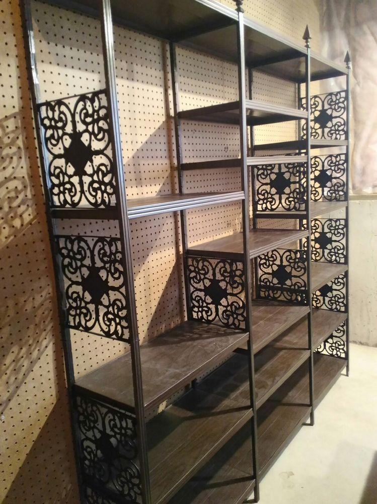 Vintage Entertainment Center Book Shelf Large Metal Wood Grain 6ft X 6 Ft Midcenturymodern