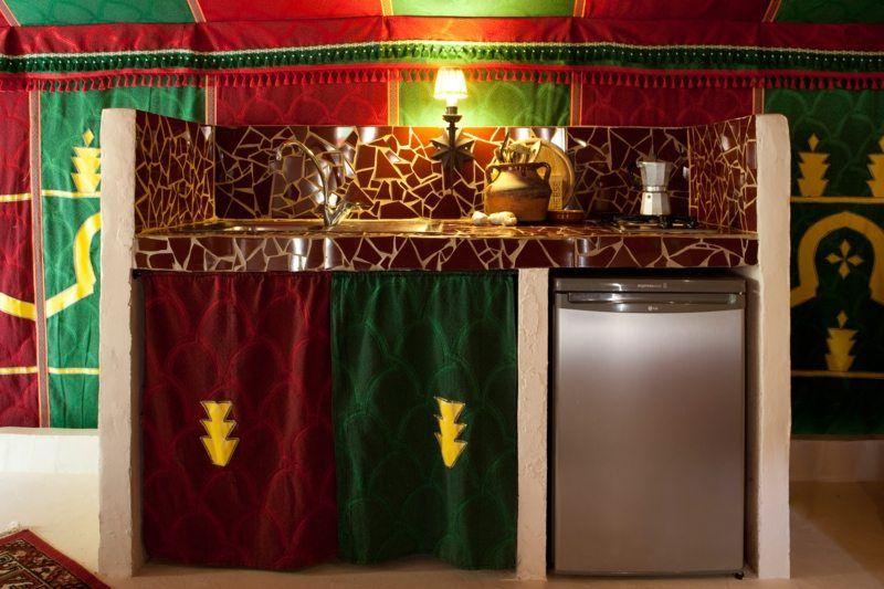 Kitchen area of La Jaima, your deluxe rental tent in Spain
