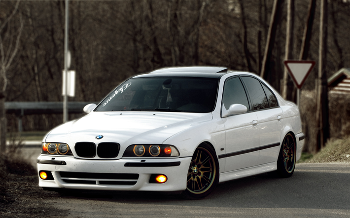 Top Download wallpapers BMW M5, 4k, E39, tuning, stance, white M5 #EM77