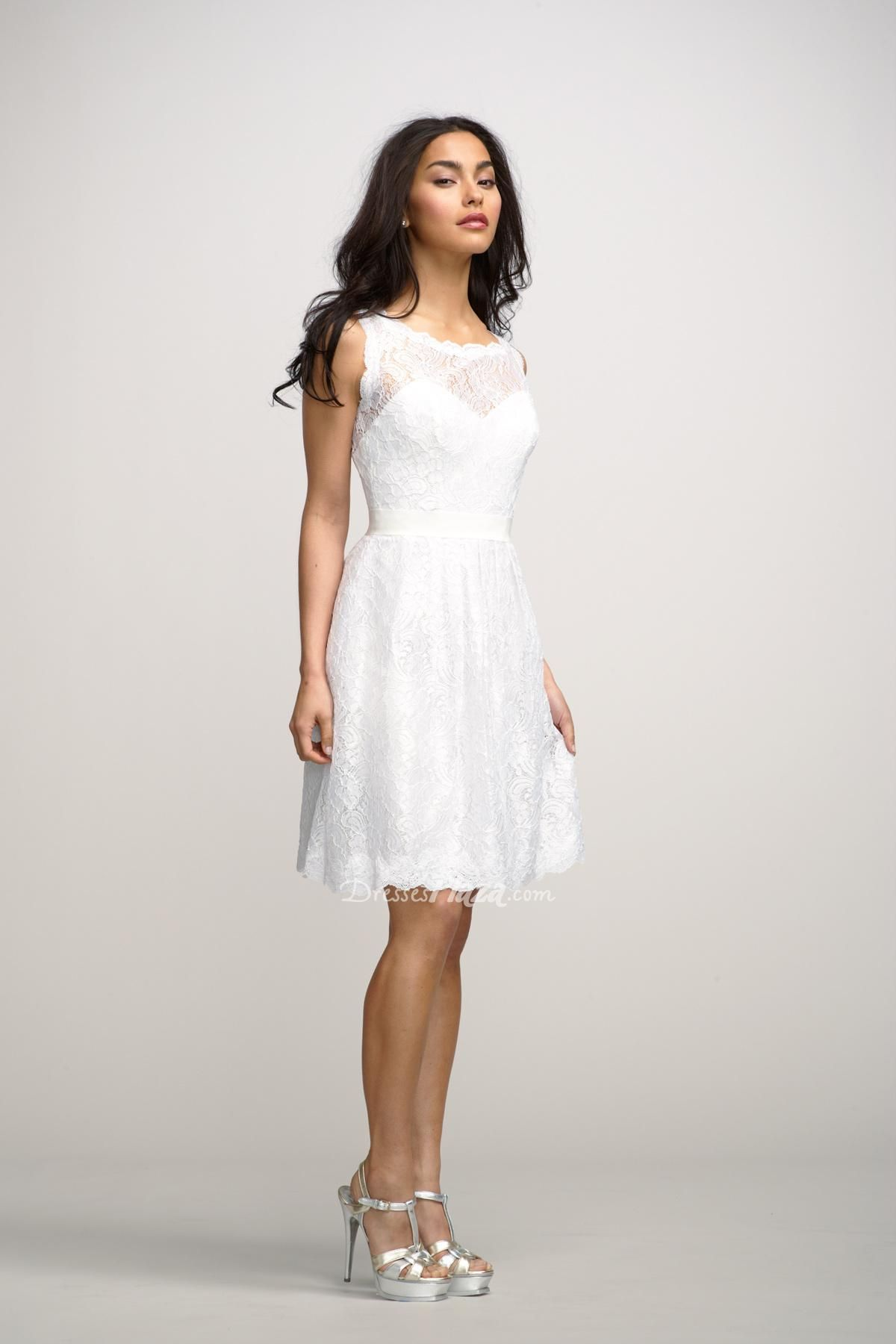 gorgeous white lace boat neck sleeveless a-line short covered ...