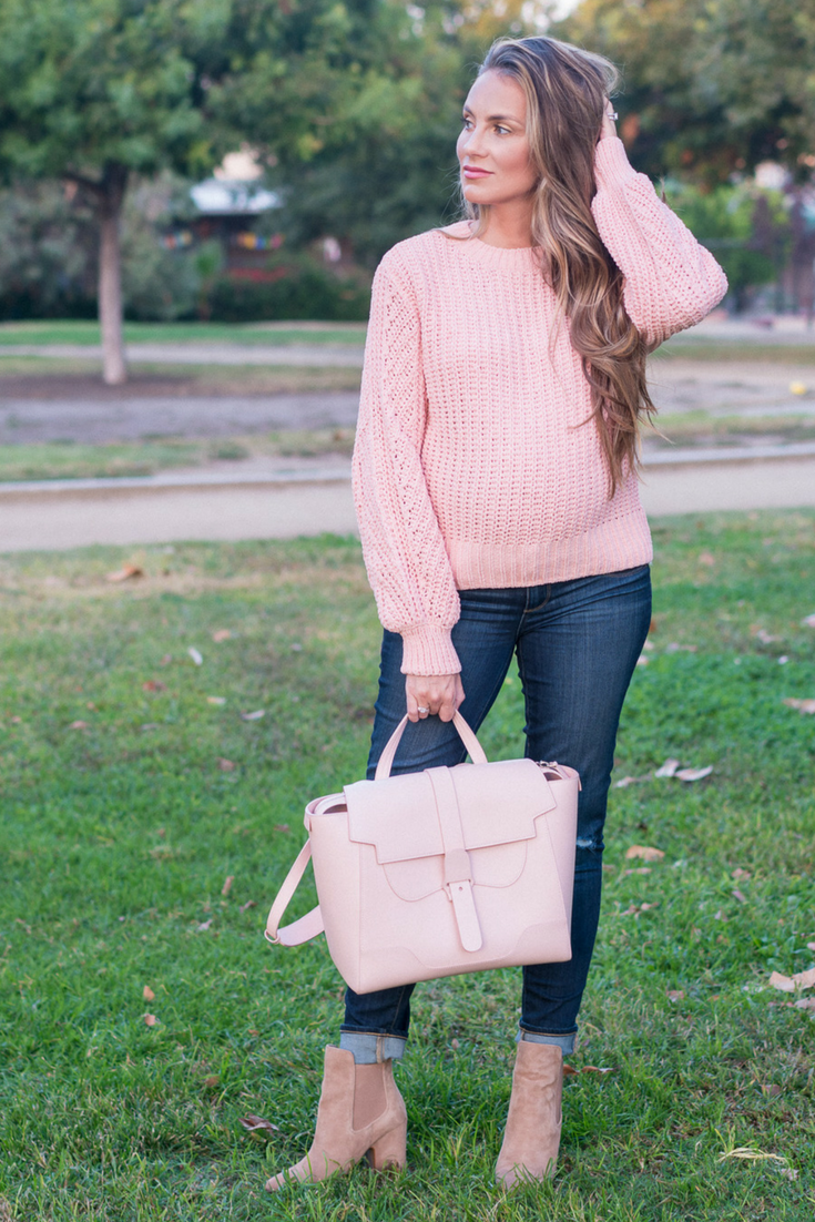 3cde8fb80a6ef Fashion For women, Fashion outfits, fashion blogger, pink sweater, pregnancy,  non maternity, pregnancy fashion, mom to be, Angela Lanter, Hello Gorgeous.