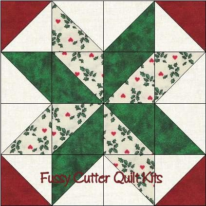 Scrappy Christmas Fabrics Easy Pre-Cut Star Quilt Blocks Top Kit #starquiltblocks