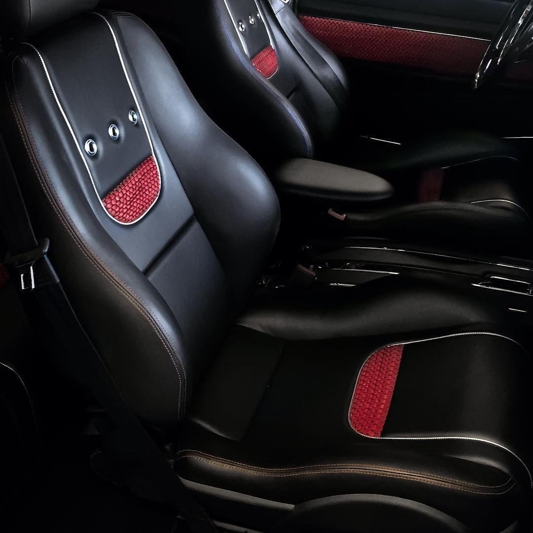 Custom bucket seats black red grey woven leather grommets