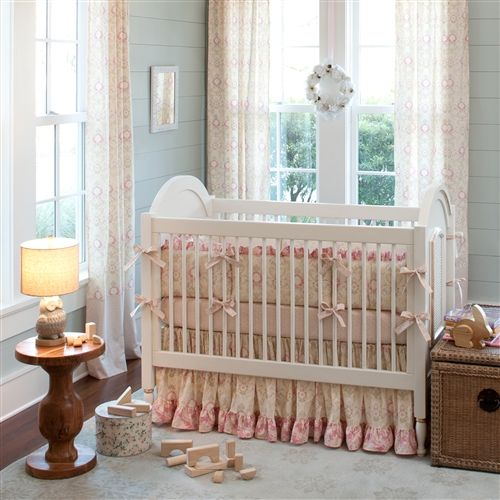 Vintage Inspired Classic Soft Pink Nursery: Vintage Floral With A Fresh New Twist. Juliet Features