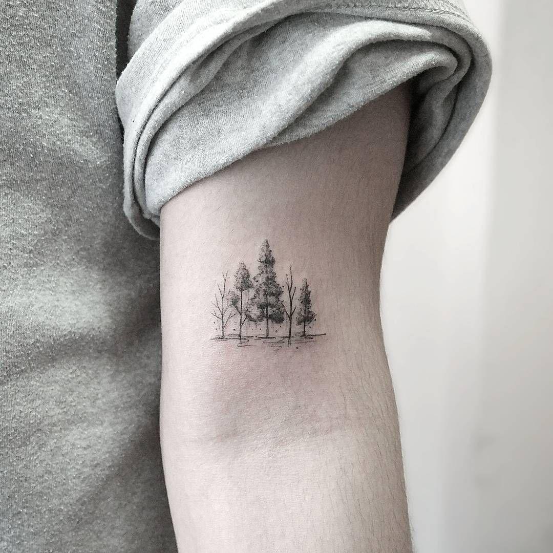 Small tattoo ideas for men on neck miniature tree line  piercingstattoos  pinterest  miniatures