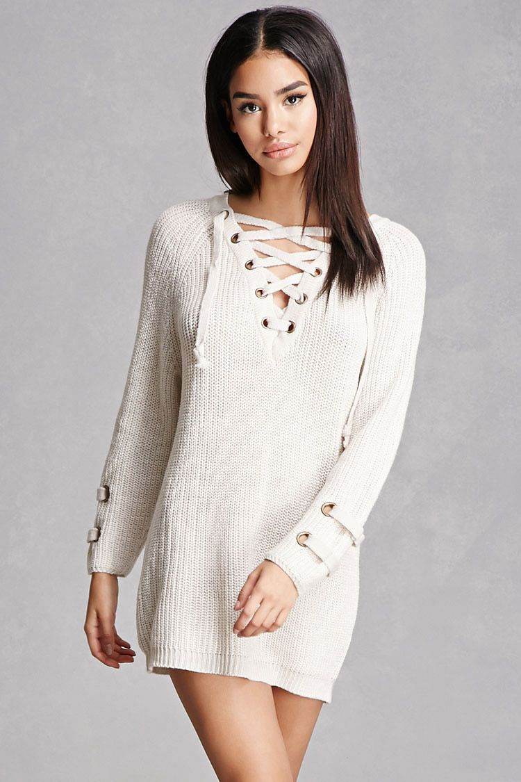 Lace-Up Sweater Dress | forever 21 | Pinterest | Neckline, 21st ...