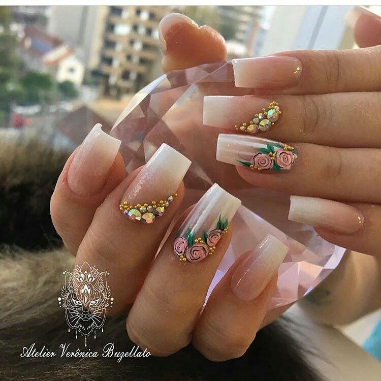 hermosas uñas rosas | Navideña | Pinterest | Rosas