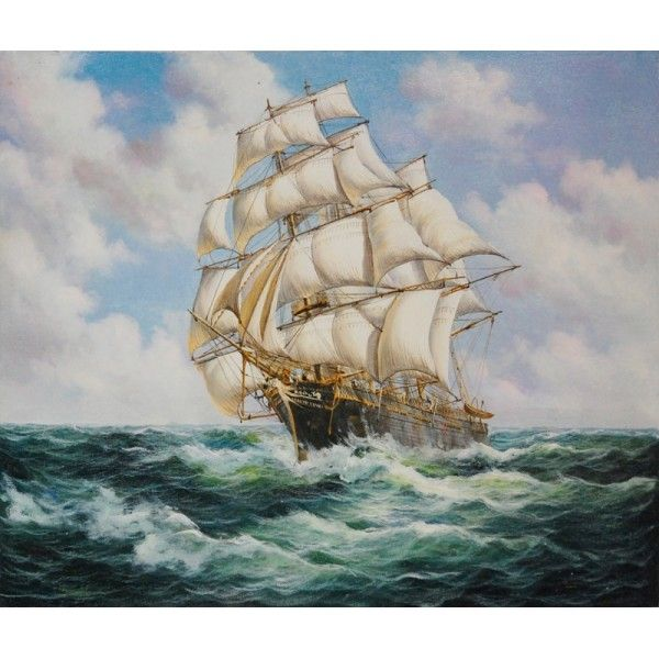 Offshore large brig seafaring oil painting for sale on for Oil art for sale