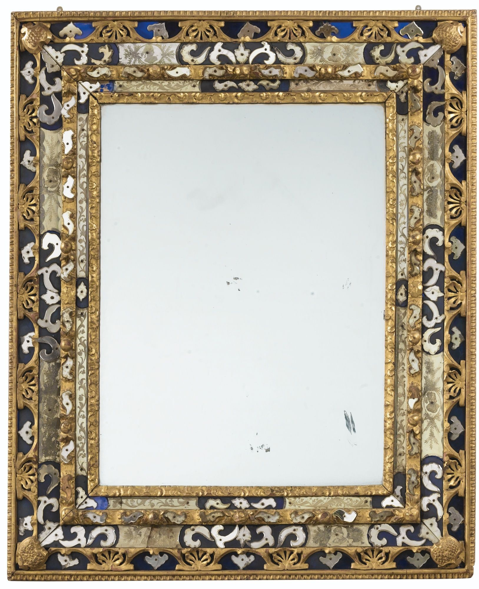 A Glass And Giltwood Mirror, Venetian, 18Th Century