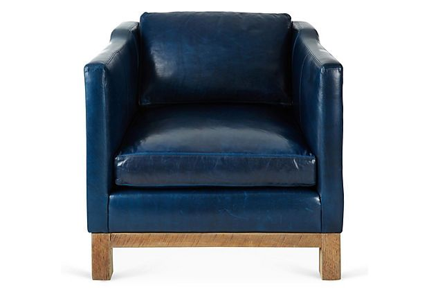 One Kings Lane Clean Lined Design Cara Chair Navy Blue Blue