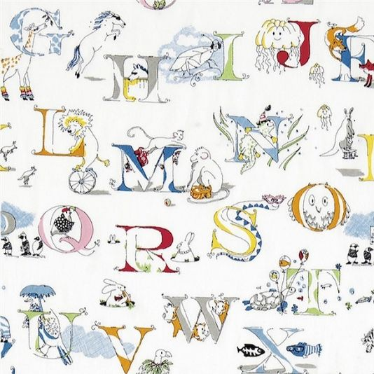 Alphabet Zoo Embroidery Fabric A delightful children's fabric embroidered with letters of the alphabet corresponding with entertaining animals in bright rainbow colours on a white background. Designed by Tony Trickey.