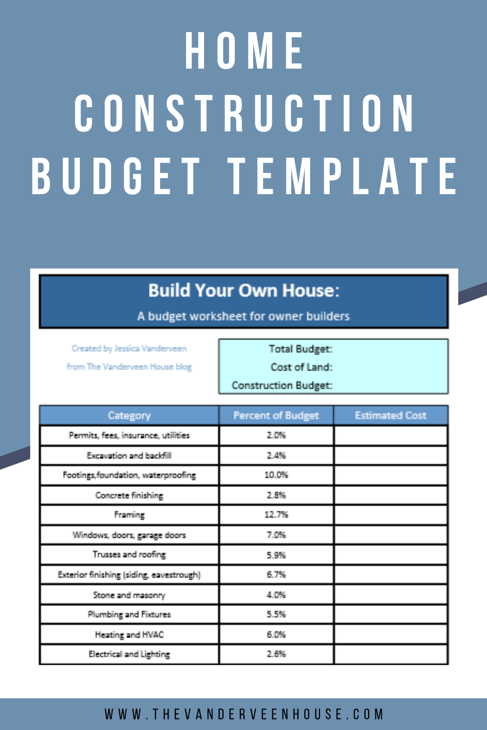 Construction Budget Worksheet How To Organize Your Finances When You Build A House Home Building Tips Building A House Checklist Building A House Cost