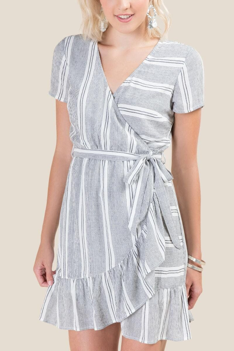 58f9e96636 Becca Striped Wrap Dress