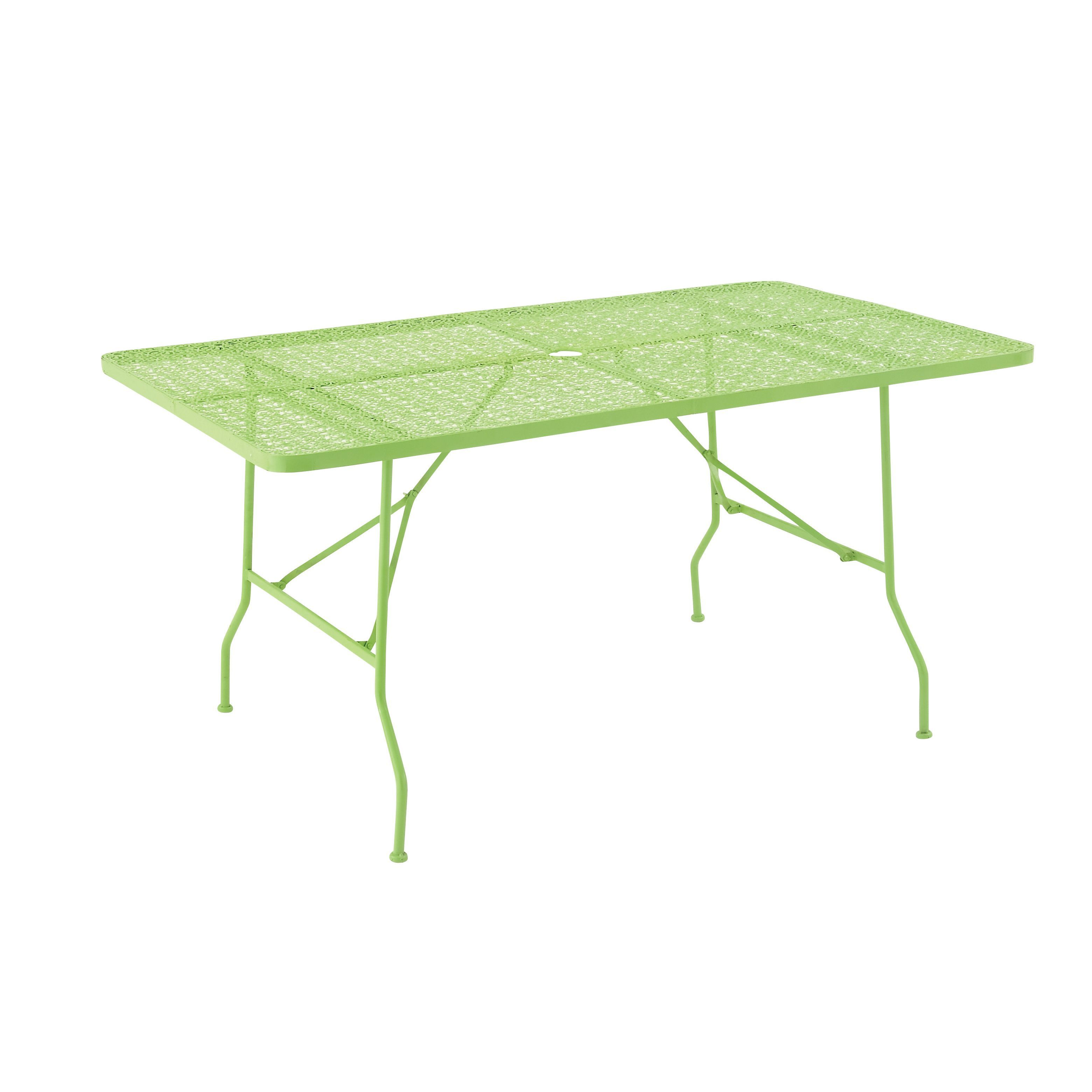 Bright green metal folding outdoor table by studio metals
