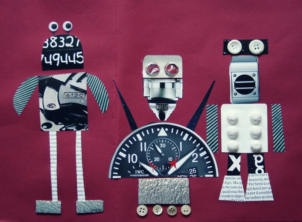robot mixedmedia collage