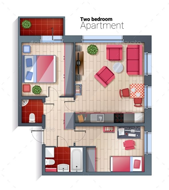 Vector Modern Two Bedroom Apartment Top View In 2019