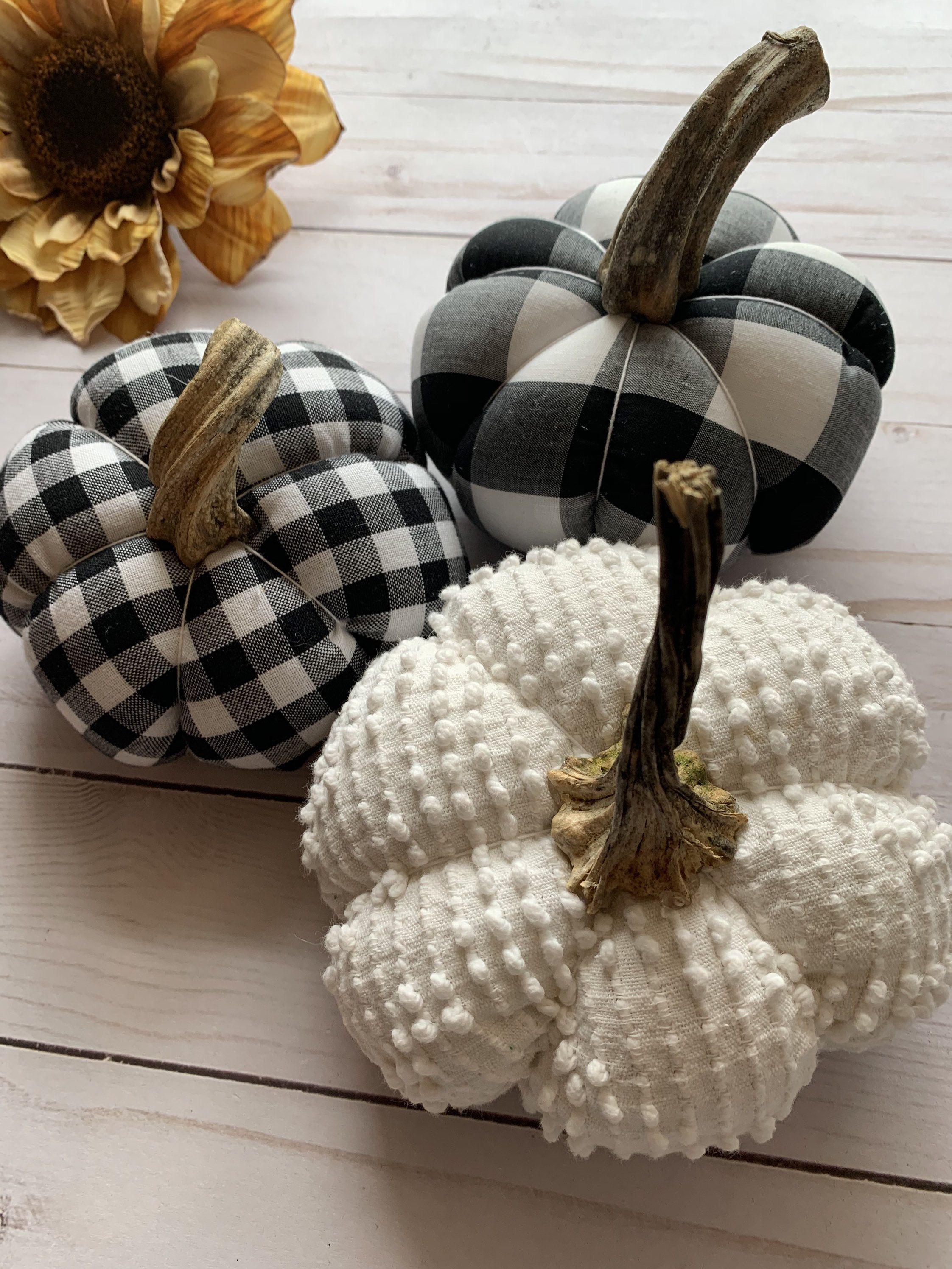 Farmhouse Buffalo Plaid Fabric Pumpkin Decor Fall Decor Black and White