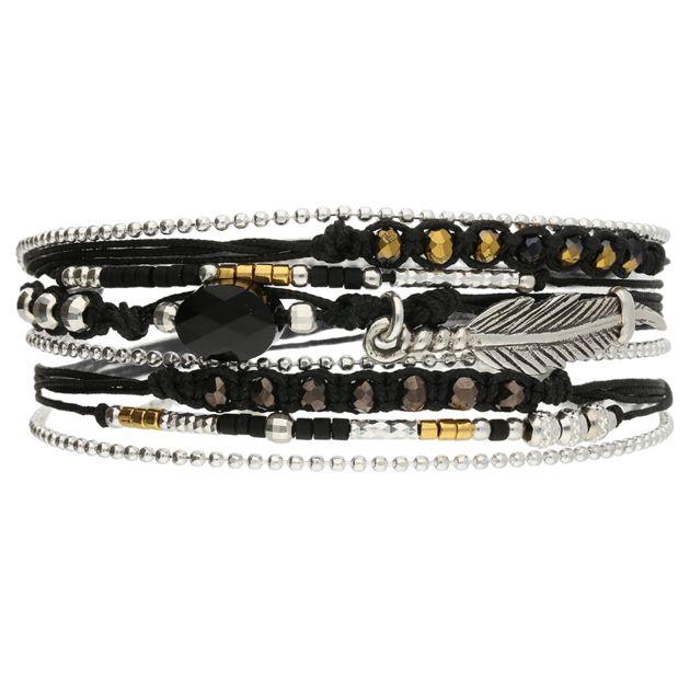 6d01eb6225cd2 BRACELET NEW FEATHER NOIR DORE CRISTAL SWAROVSKI OVAL - BRACELETS Bracelets  Multi-Tours -