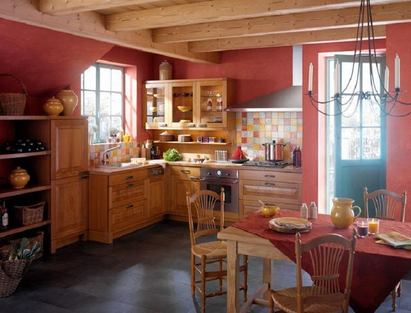 French country kitchen design red wall and brown cabinets for Red kitchen paint ideas