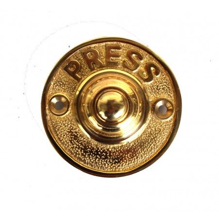 PRESS round solid brass old antique style retro door push button bell