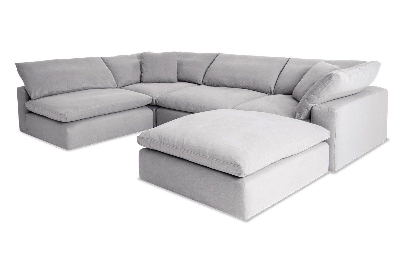 Dream Gray Modular 5 Piece Sectional Sectional Sofa Comfy Grey