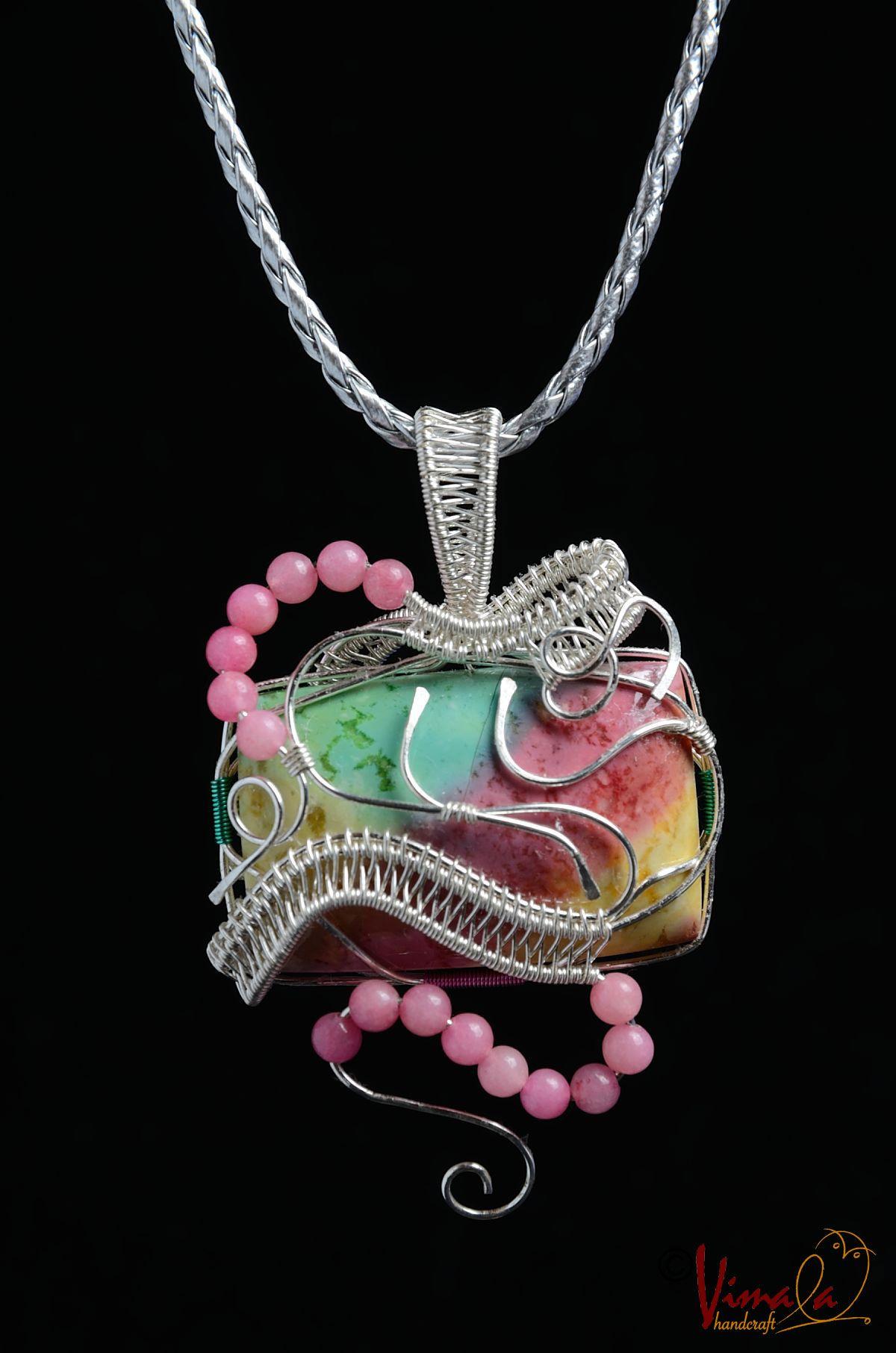 NADINE, Wire Wrapped Jewellery Pendant Necklace | Vimala Handmade Jewellery and Craft