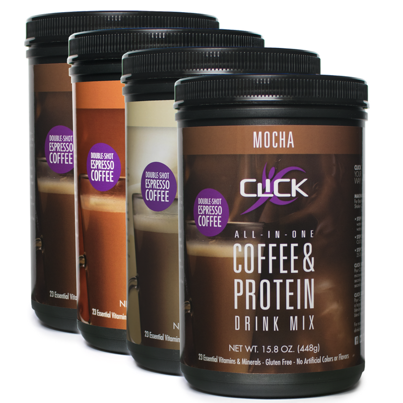 Order 4 CLICK Coffee Protein Canisters And Receive Amazing
