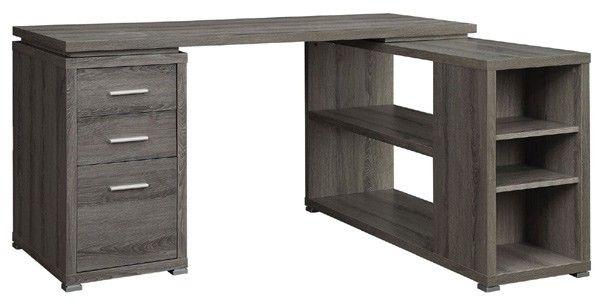 Coaster Furniture - Yvette Weathered Grey L-Shape Desk - 800518
