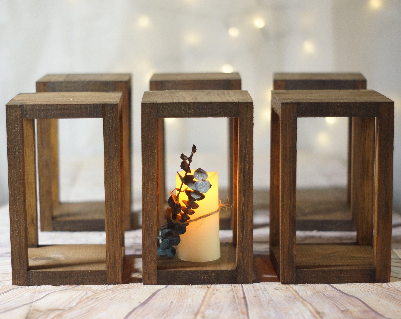 6 9 Bulk Wedding Lantern Centerpieces Rustic Wedding Table Decoration Farmhouse Decor Wooden Candle Holder Country Barn Wedding Gift Rustic Wedding Table Decor Lantern Centerpiece Wedding Rustic Wedding Table