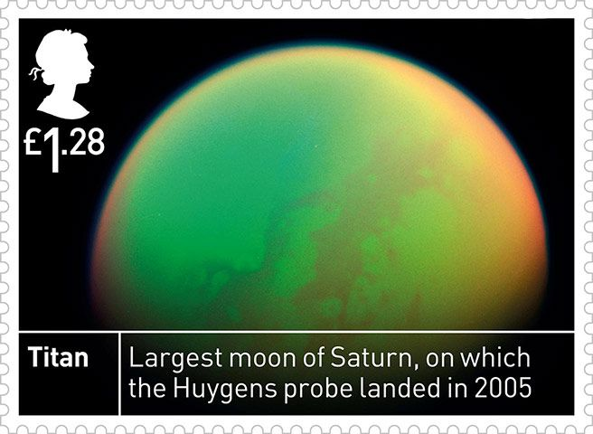 Titan. From Royal Mail stamps to mark the 50th anniversary of Ariel 1, the UK's first satellite, making it the world's third spacefaring nation.