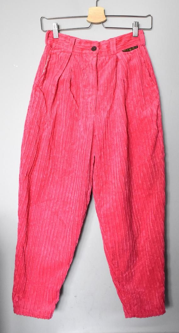 6374ebab2c Vintage 80's pink corduroy pants/ High-waisted corduroy trousers ...