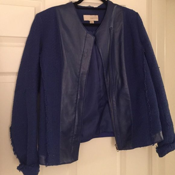 Navy leather trimmed blazer Barely worn navy/royal blue leather trimmed blazer Bagatelle Jackets & Coats Blazers