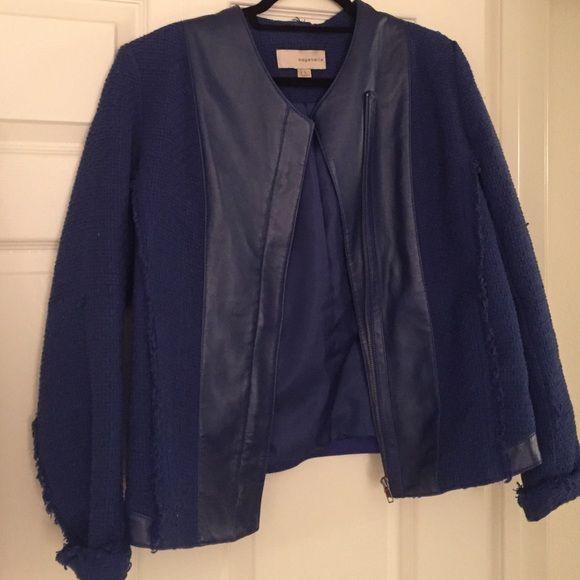 Navy leather trimmed blazer Barely worn navy/royal blue leather trimmed blazer Bagatelle Jackets & Coats Blazers