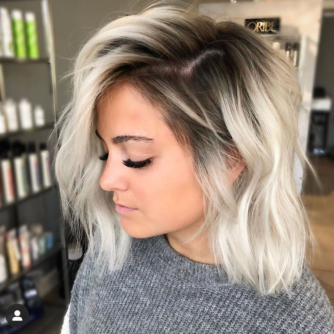 Balayage Beautiful Hair On Instagram These Rooted Ice Blonde Lobs Got Me By Hairbymadolynn Besto Ice Blonde Hair Blonde Hair With Roots Balayage Hair