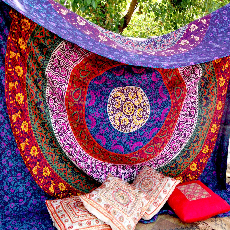 Large Indian Mandala Tapestry Hippie Hippy Wall Hanging Throw  ~ Papel De Parede Hippie Para Quarto