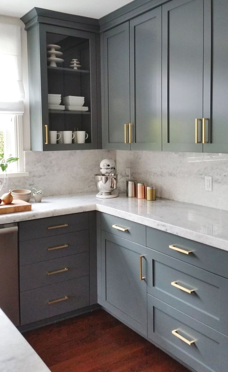 Blue Gray Kitchen Cabinets Withe Marble Look Quartz Countertops And Slab Backsplash Warmed With Kitchen Cabinet Design Kitchen Interior Large Kitchen Cabinets