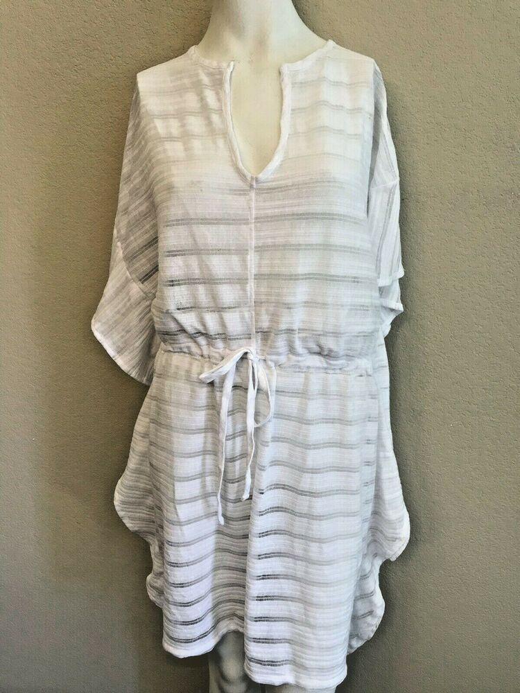 4d4c895490236 Portocruz Women's XL White Beach Swimsuit Cover-up Sheer Sun Dress NWT  #Portocruz #CoverUp