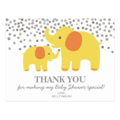 Elephant Baby Shower Thank You Note Polka Dots Postcard  Boy