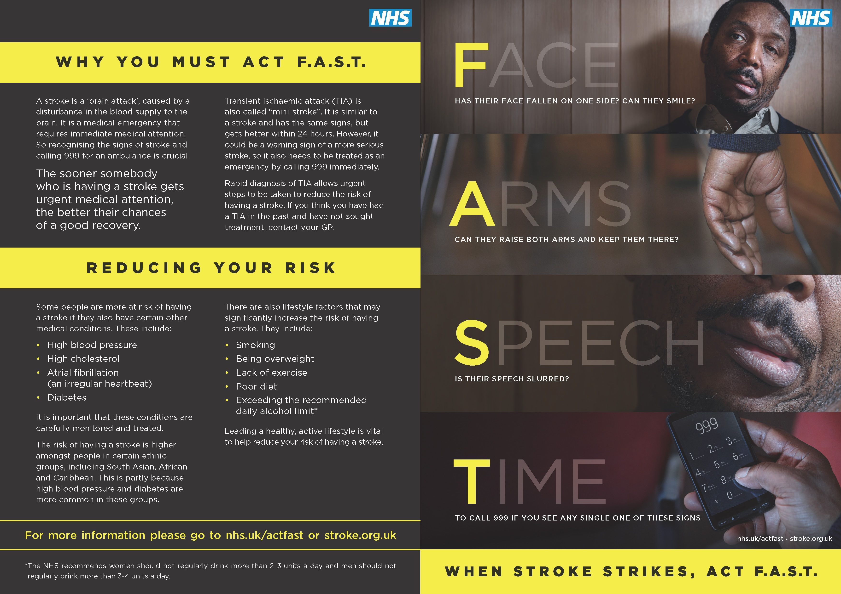 Act FAST leaflet describing the signs and symptoms of