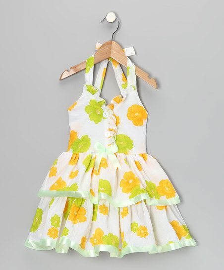 Lele for Kids Yellow Floral Halter Dress - Toddler & Girls | zulily