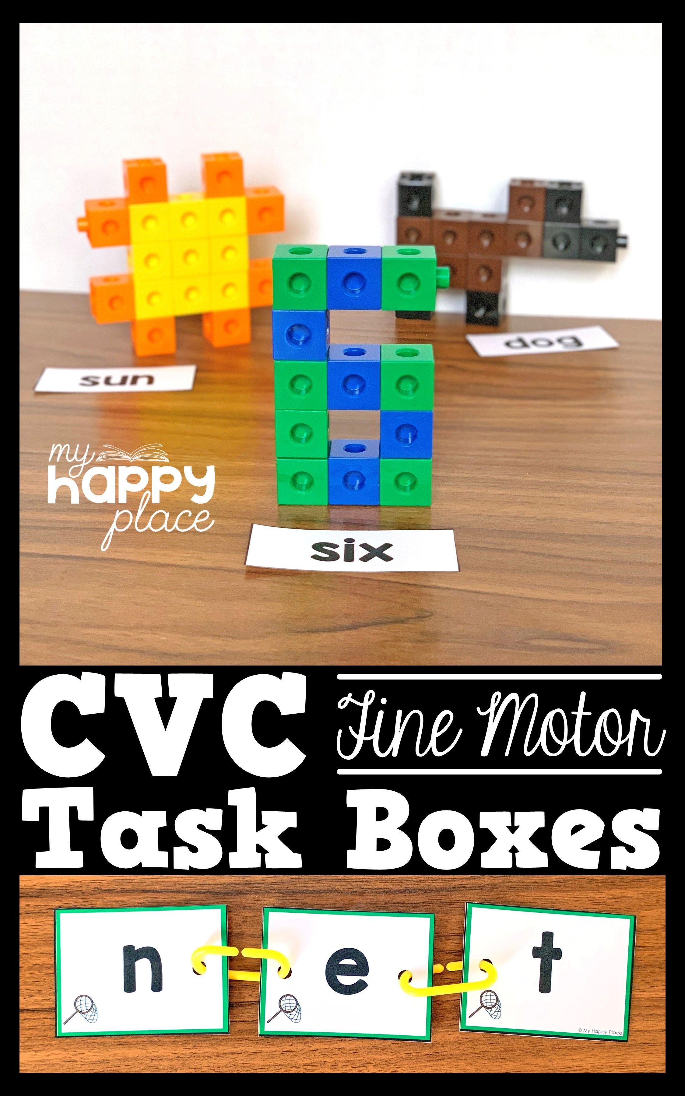 Cvc Words Fine Motor Skills Task Boxes