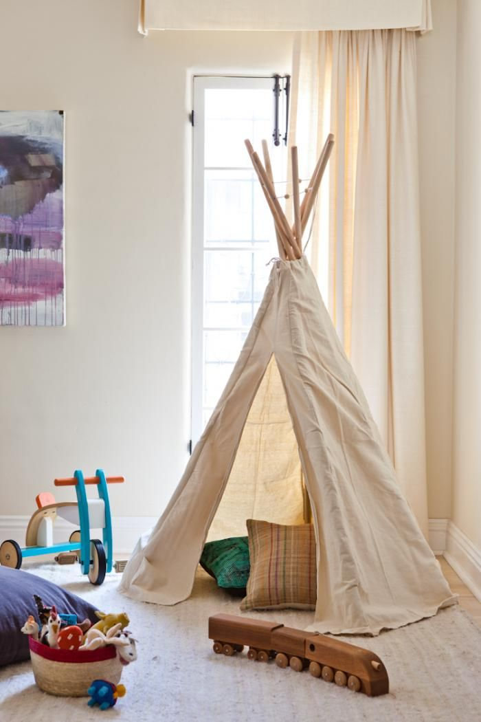A canvas teepee. From: LA Woman: At Home with Hollywood's Style Guru : Remodelista