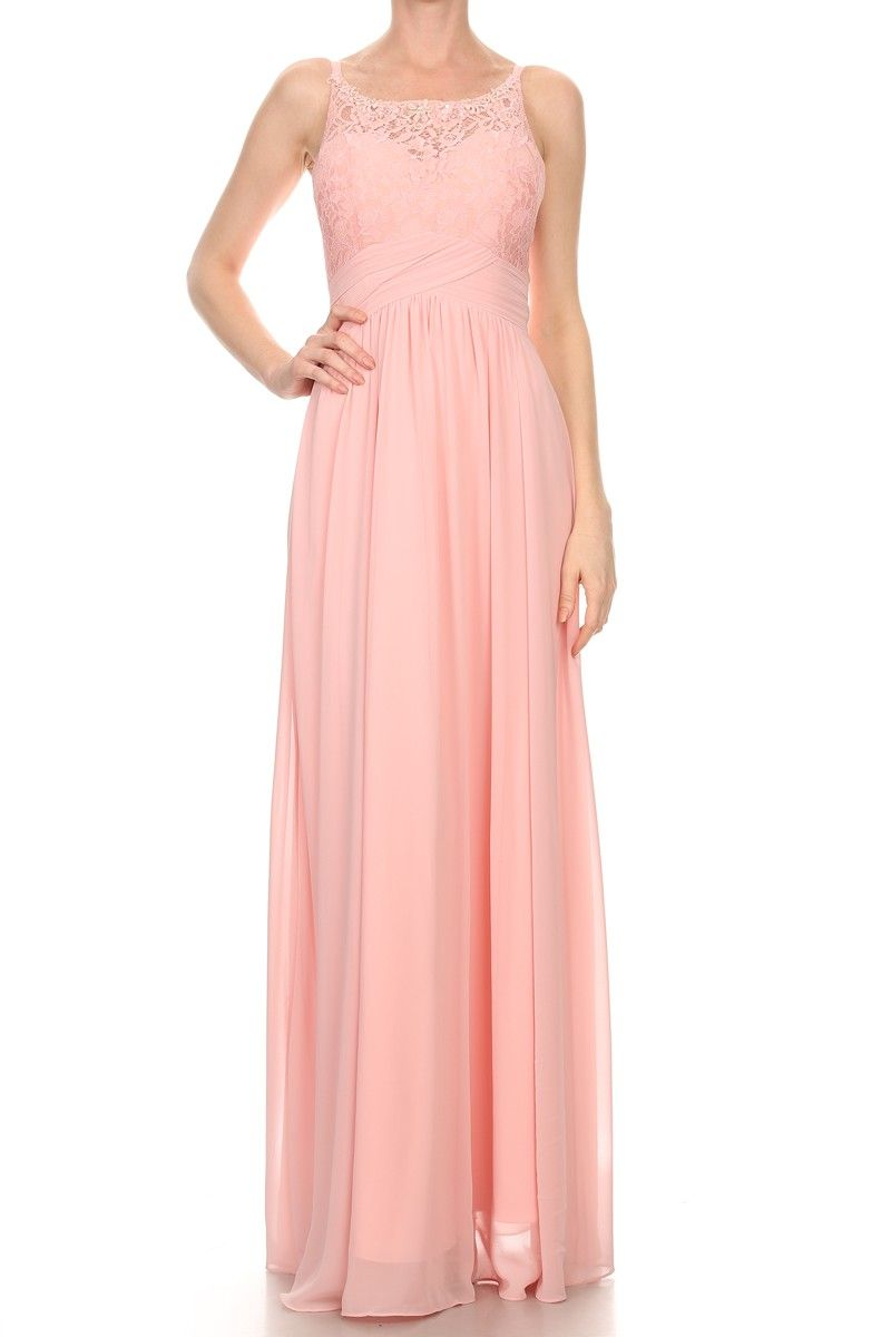 This lace-chiffon dress from Star Box features a corset back ...
