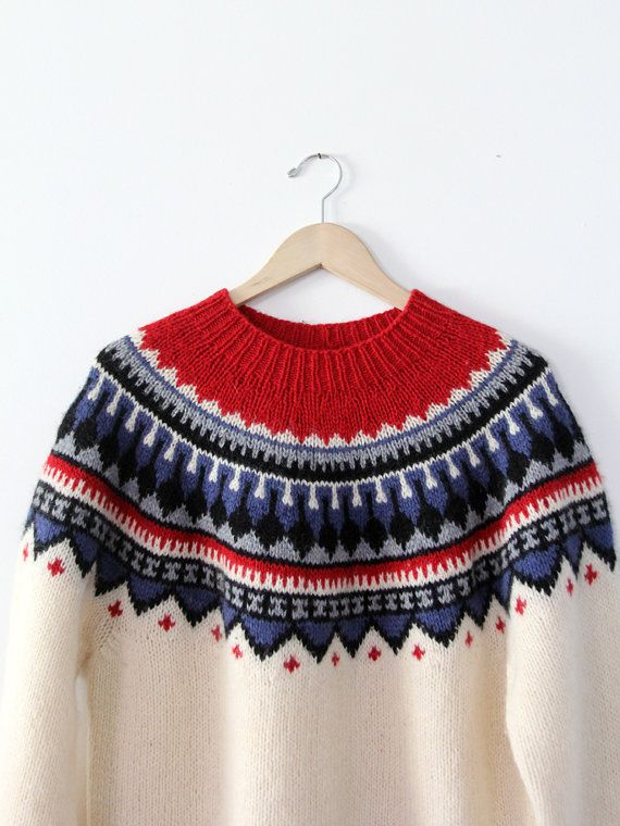 Vintage fair isle sweater / folk sweater / nordic sweater | Sacos ...