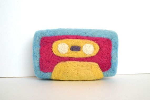 Needle Felted Pink Cassette Tape by ThingsByV on Etsy, $10.00