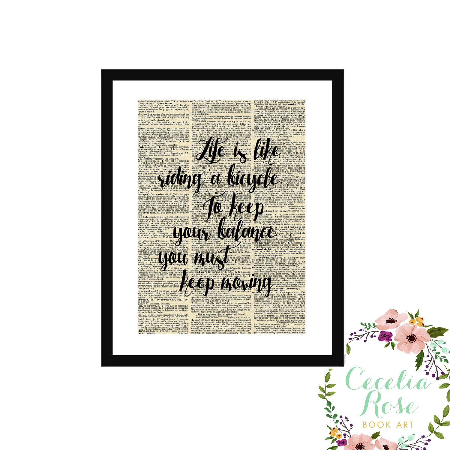 Life Is Like Riding A Bicycle Albert Einstein Quote Upcycle Vintage ...