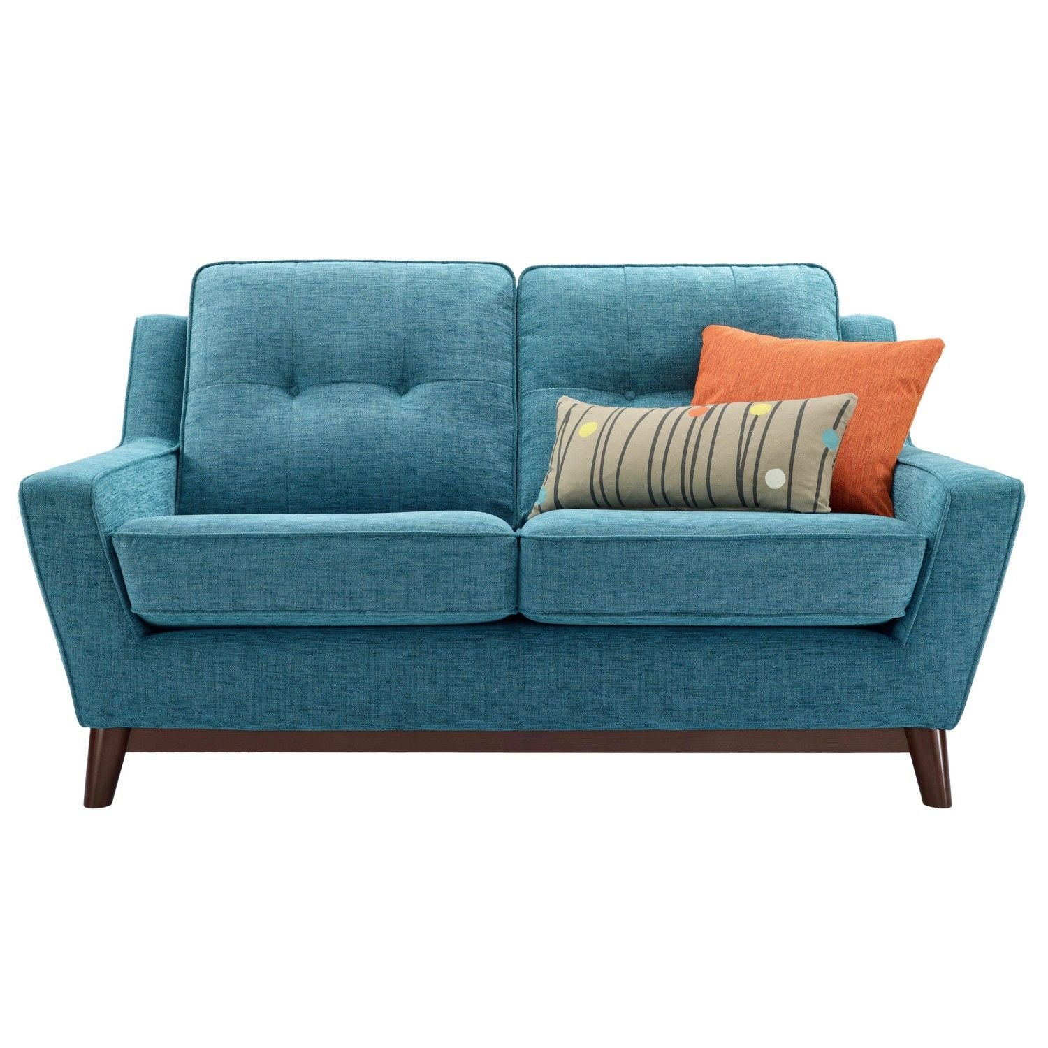 Recliner upholstered chair furniture fabulous light blue padded with microfiber loveseat sofa wooden legs orange cushion
