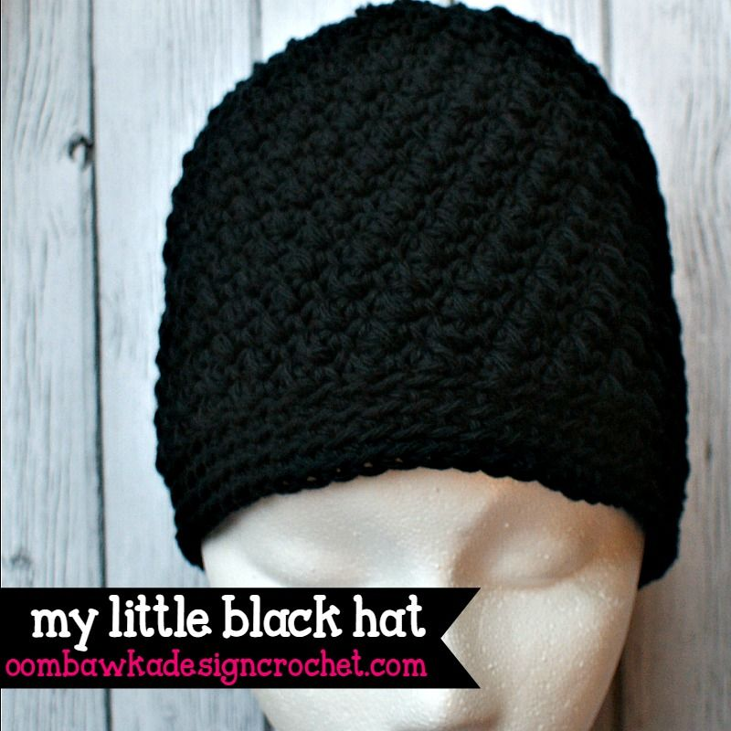 My Little Black Hat - Cotton Crochet Hat Pattern