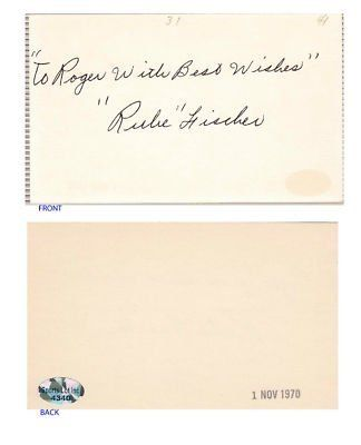 "Rube Fischer Signed 3x5 Index Card SL COA NY Giants . $6.00. Major League PitcherRube FischerHand Signed 3x5"" Index CardFischer Played For:New York Giants 1941, 1943-1946.WONDERFUL AUTHENTIC RUBE FISCHER BASEBALL COLLECTIBLE!!SIGNATURE IS AUTHENTICATED BY SPORTSLOT INC. WITH NUMBERED SPORTSLOT INC. STICKER ON ITEM AND IS GUARANTEED AUTHENTIC BY SPORTSLOT INC.SPORTSLOT INC AUTHENTICITY NUMBER:  # 4340"