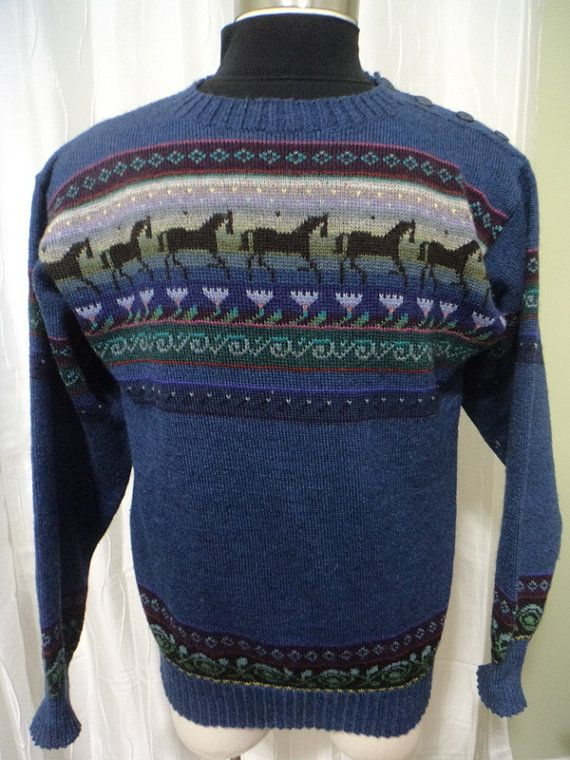 7a79b2e1f SIRKKA KONONEN Finland Sweater  Blue Wool Sweater